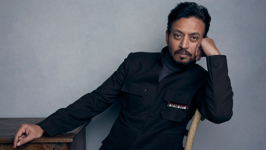 "In this Jan. 22, 2018 file photo, actor Irrfan Khan poses for a portrait to promote the film ""Puzzle"" during the Sundance Film Festival in Park City, Utah."