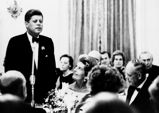 President JFK Speaking Dinner French minister 1962
