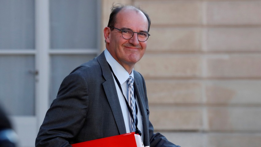In this undated file photo, Jean Castex leaves after a videoconference with the French President and French mayors at the Elysee Palace in Paris. Castex was named the new Prime Minister of France on July 3, 2020.