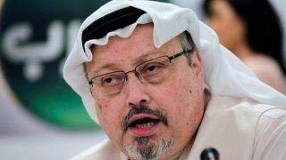 In this Dec. 15, 2014, file photo, Saudi journalist Jamal Khashoggi speaks during a press conference in Manama, Bahrain.