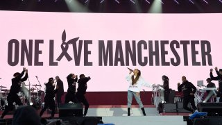 In this June 4, 2017, file photo, Ariana Grande performs on stage during the One Love Manchester Benefit Concert at Old Trafford in Manchester, England.