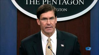 In this image from video, Secretary of Defense Mark Esper talks to the press on Iran and Iraq, Jan. 7, 2020, at the Pentagon in Washington.