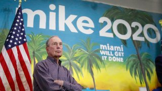 Democratic presidential candidate and former New York City Mayor Mike Bloomberg waits to speak at a news conference, March 3, 2020, in the Little Havana neighborhood in Miami.