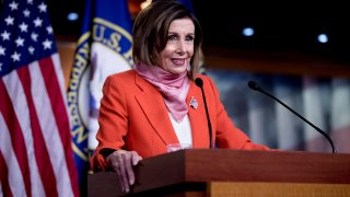 House Speaker Nancy Pelosi, D- Calif., speaks during a news conference on Capitol Hill, April 24, 2020, in Washington.