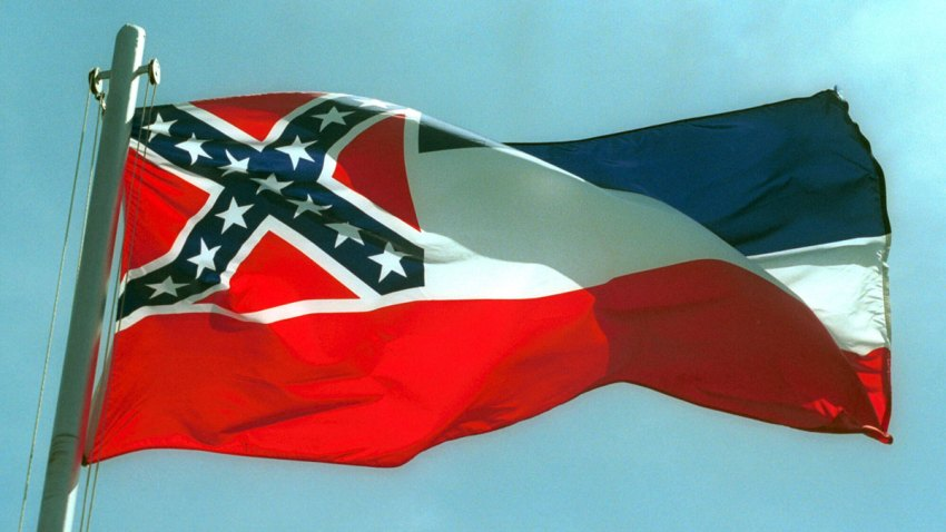 The Mississippi State flags flies April 17, 2001 in Pascagoula, MS.