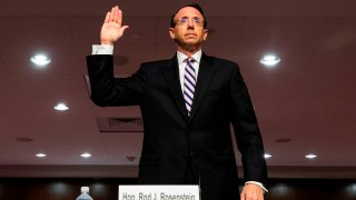 """Former deputy attorney general Rod Rosenstein is sworn in prior to testifying before a Republican-led Senate Judiciary Committee hearing on """"Crossfire Hurricane,"""" the FBI's probe into Russian election interference and the 2016 Trump campaign, in the Dirksen Senate Office Building in Washington, D.C., on June 3, 2020."""