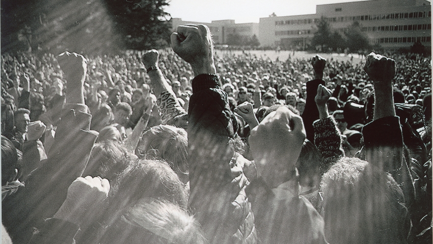 A 1968 protest at San Francisco State University is seen in this screenshot from the new PBS docuseries 'Asian Americans,' which premieres Monday, May 11, at 8 p.m. ET.