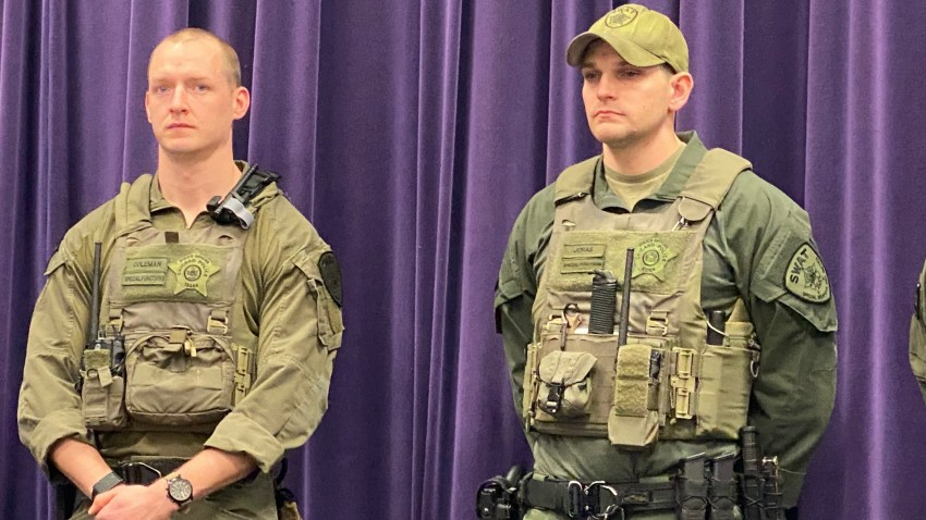 Chicago SWAT officers Shane Coleman and Peter Jonas are honored after saving a man from the icy waters of Lake Michigan