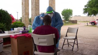 Thursday morning firefighters from the city of Wylie Fire-Rescue administered coronavirus tests for 80 residents and about 110 employees at Founders Plaza Nursing and Rehabilitation.
