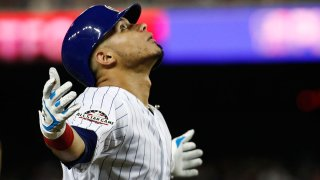 Willson Contreras celebrates after hitting a home run during the 2018 All-Star Game in Washington