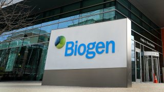 In this March 21, 2019, file photo, the exterior of the headquarters of biotechnology company Biogen is seen in Cambridge, Massachusetts.
