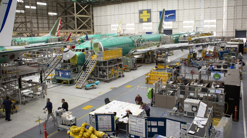 Boeing Co. 737 Max airplanes are seen at the company's manufacturing facility in Renton, Washington, U.S., on Wednesday, March 27, 2019.