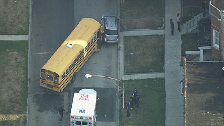 bus strikes car chicago
