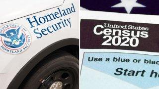 patrulla del Departamento de Seguridad Nacional y formulario del Censo