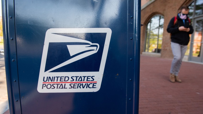 A mailbox is seen outside a United States Postal Service post office