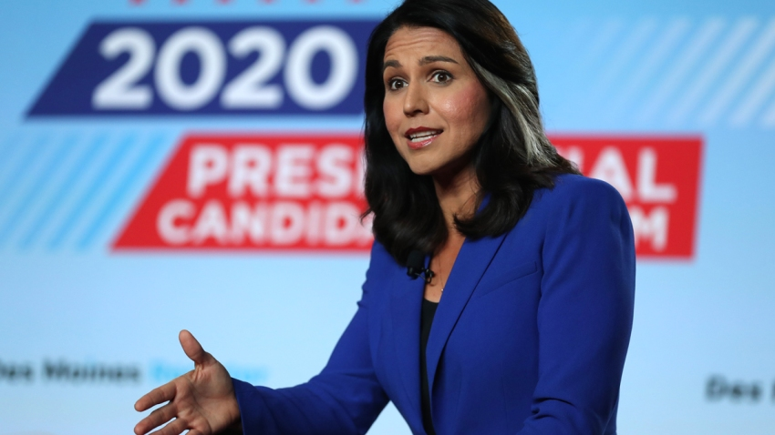 Democratic presidential candidate U.S. Rep. Tulsi Gabbard (D-HawaiiI) speaks during the AARP and The Des Moines Register Iowa Presidential Candidate Forum on July 17, 2019 in Cedar Rapids, Iowa.