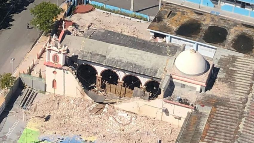 The Inmaculada Concepcion church is partially collapsed following a strong 6.4-magnitude earthquake that hit south of Puerto Rico on Jan. 7, 2019. The church was built in 1841.