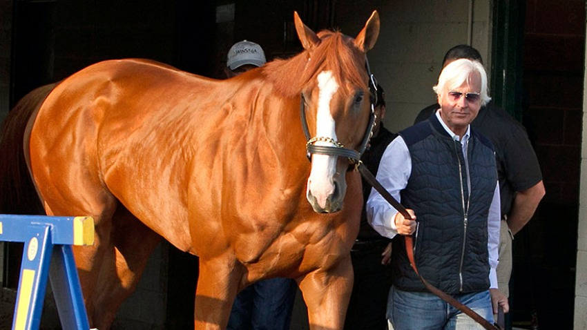 In this May 6, 2018, file photo, Justify, led by trainer Bob Baffert, emerges from Barn 33 to meet the public the morning after winning the 144th Kentucky Derby at Churchill Downs in Louisville, Ky.