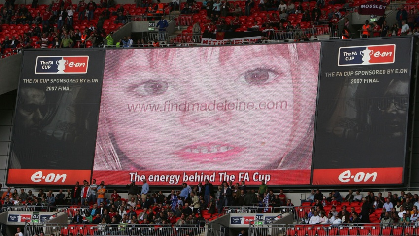 An appeal is displayed on the scoreboard relating to the search for Madeleine McCann prior the FA Cup Final match sponsored by E.ON between Manchester United and Chelsea at Wembley Stadium on May 19, 2007 in London, England.