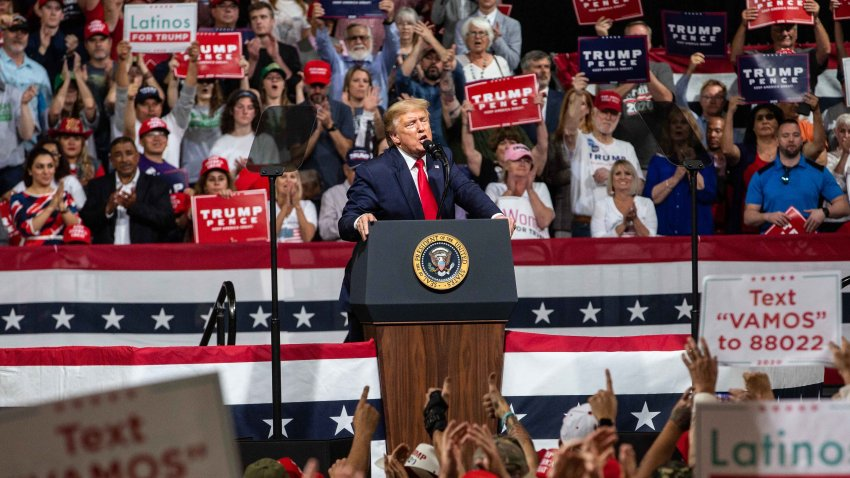 In this Feb. 19, 2020, file photo, President Donald Trump speaks at a rally at the Arizona Veterans Memorial Coliseum in Phoenix, Arizona.