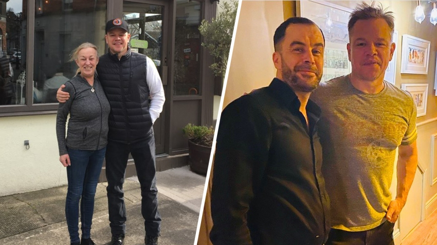 Matt Damon has been an unlikely long-term guest for residents of Dalkey, Ireland. Damon poses with cafe owner Mary Caviston, left, and in Ouzos Steak & Seafood Restaurant, right.