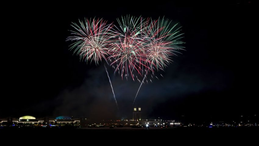 Fireworks illuminate the sky over Navy Pier shores of Lake Michigan during 4th of July celebrations in Chicago,