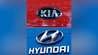 the logo of Kia Motors, top and Hyundai logo, bottom