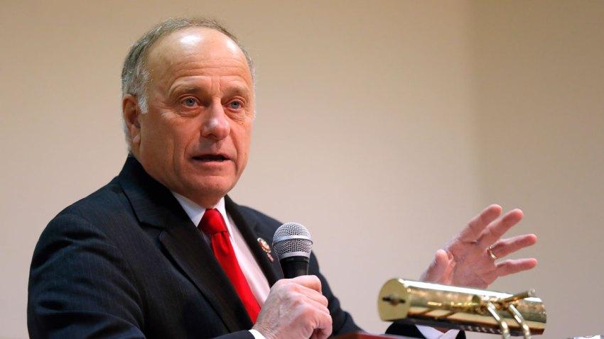 In this Jan. 26, 2019, file photo, U.S. Rep. Steve King, R-Iowa, speaks during a town hall meeting in Primghar, Iowa.