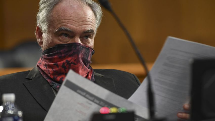 Sen. Tim Kaine with face mask