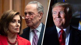 Foto de Nancy Pelosi, Chuck Schumer, y Donald Trump