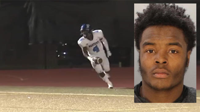 Fayaadh Gillard (inset) is accused of murder in the shooting death of his twin brother Suhail Gillard (seen playing football) inside an Overbrook apartment.