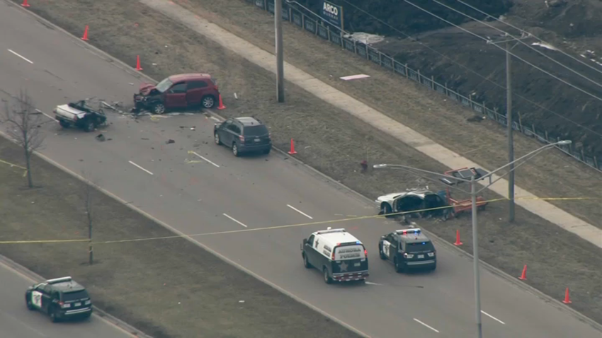 Aurora police investigate a crash that occurred during a high speed chase on February 19