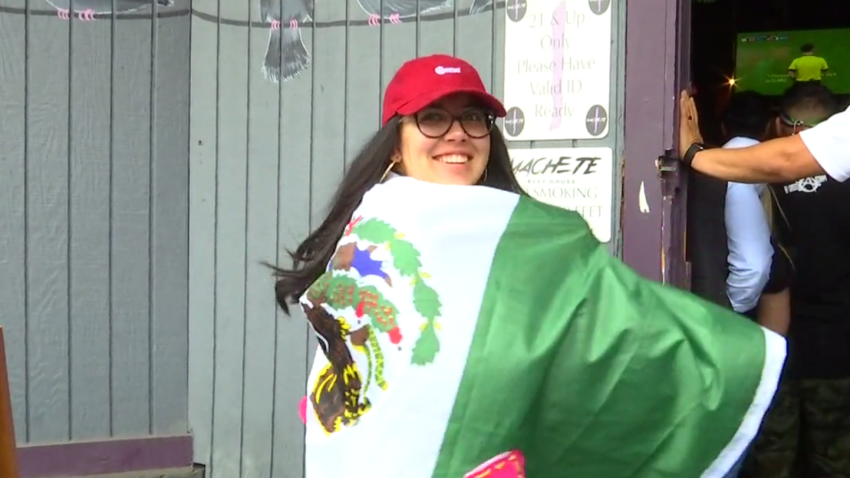 woman with mexican flag