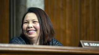 Senator Tammy Duckworth, a Democrat from Illinois, smiles during a Senate Armed Services Committee hearing in Washington, D.C., U.S., on Thursday, April 11, 2019.