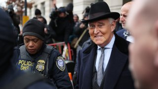 Roger Stone, former adviser and confidante to U.S. President Donald Trump, leaves the Federal District Court for the District of Columbia after being sentenced February 20, 2020 in Washington, DC.
