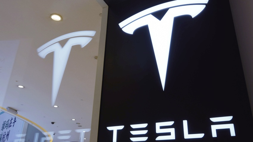 A Tesla logo is seen at a Tesla store on April 21, 2020 in Hangzhou, Zhejiang Province of China.