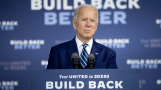 In this July 21, 2020, file photo, US Democratic presidential candidate Joe Biden speaks about on the third plank of his Build Back Better economic recovery plan for working families in New Castle, Delaware.