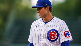 Anthony Rizzo #44 of the Chicago Cubs looks on against the Minnesota Twins