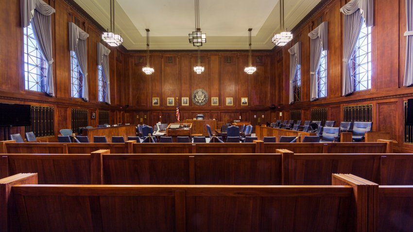 Courtroom at the Robert A. Grant Federal Building U.S. Courthouse, South Bend, Indiana.