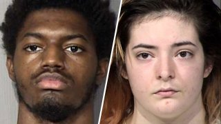 These undated mugshots provided by the Maricopa County Sheriff's Office in Phoenix show 18-year-old Javian Ezell and 18-year-old Gabrielle Austin of Shreveport, Louisiana