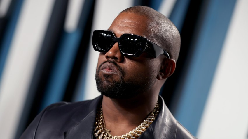 In this file photo, Kanye West attends the 2020 Vanity Fair Oscar Party hosted by Radhika Jones at Wallis Annenberg Center for the Performing Arts on Feb. 9, 2020 in Beverly Hills, California.