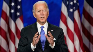In this Aug. 20, 2020, file photo, Democratic presidential candidate former Vice President Joe Biden speaks during the fourth day of the Democratic National Convention at the Chase Center in Wilmington, Delaware.