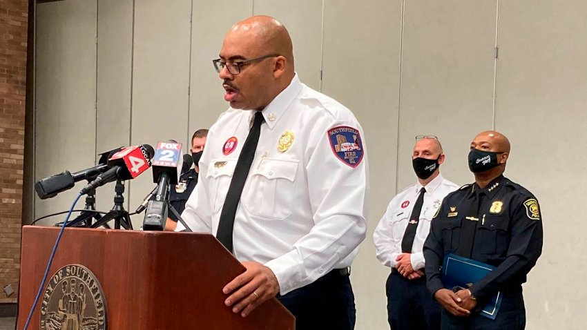 Southfield, Mich., Fire Chief Johnny Menifee holds a news conference on Wednesday, Aug. 26, 2020, in Southfield, Mich., in response to questions about a woman, Timesha Beauchamp, who was found alive at a funeral home.