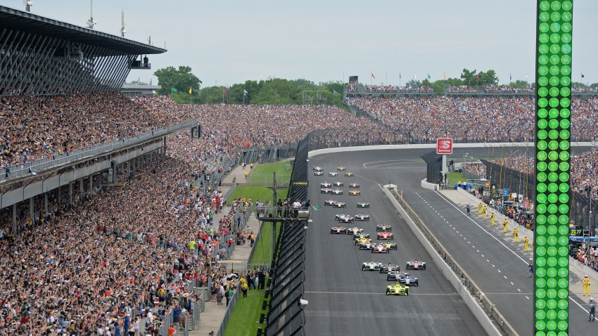 IndyCar driver Simon Pagenaud (22) of the Menards Team Penske Chevrolet leads the field tot he green flag for the start of the NTT IndyCar Series 103rd running of the Indianapolis 500 on May 26, 2019, at the Indianapolis Motor Speedway in Indianapolis