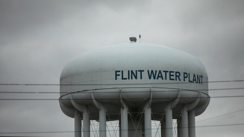 The Flint Water Plant tower stands in Flint, Michigan, U.S., on April 13, 2020. On Monday, Covid-19 cases reached 25,635 in Michigan, according to data from the state health department.
