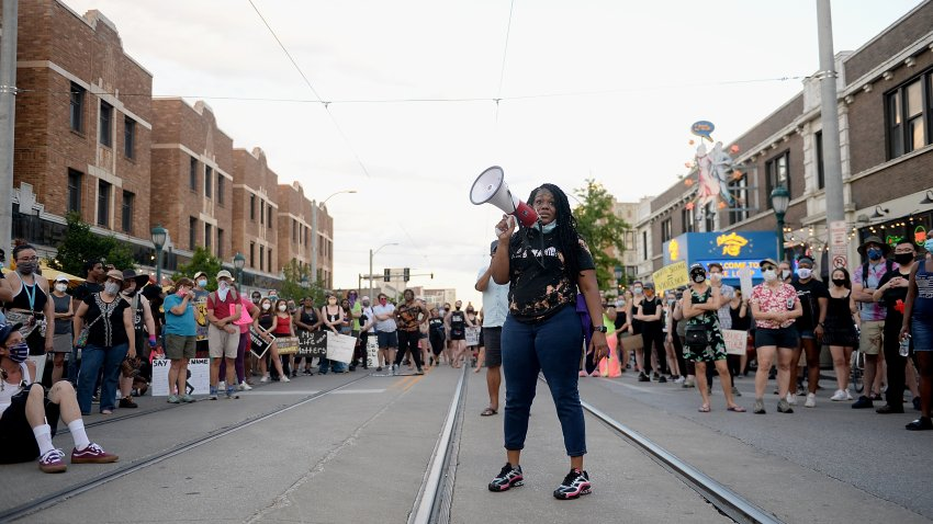 Missouri Democratic congressional candidate Cori Bush leads protesters as they take to the street to protest against police brutality on June 12, 2020 in University City, Missouri.