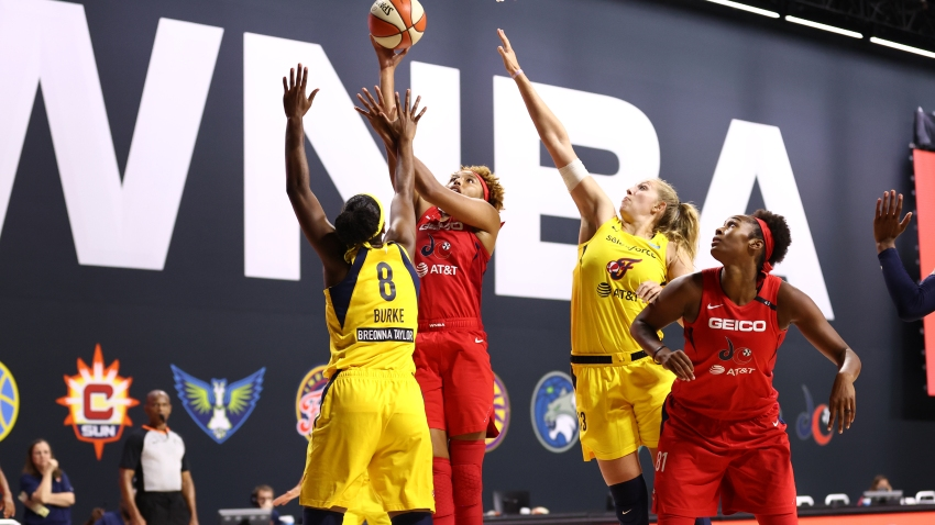 Tianna Hawkins #21 of the Washington Mystics shoots the ball against the Indiana Fever on August 9, 2020 at Feld Entertainment Center in Palmetto, Florida.