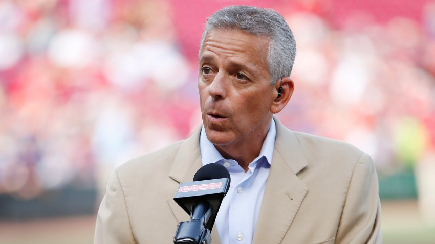 In this June 16, 2017, file photo, Cincinnati Reds television broadcaster Thom Brennaman looks on prior to a game against the Los Angeles Dodgers at Great American Ball Park in Cincinnati, Ohio.