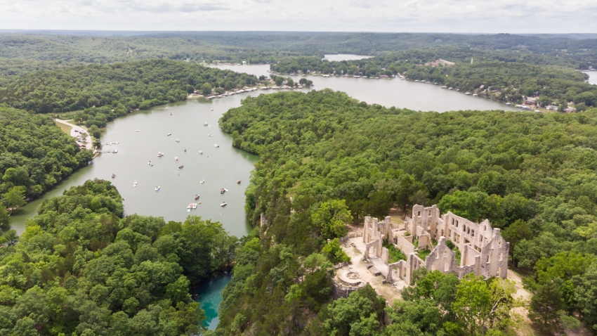 Aerial photo of Ha Ha Tonka State Park at the Lake of the Ozarks, MO.