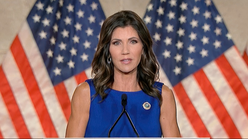 In this image from video, South Dakota Gov. Kristi Noem speaks during the third night of the Republican National Convention on Wednesday, Aug. 26, 2020.
